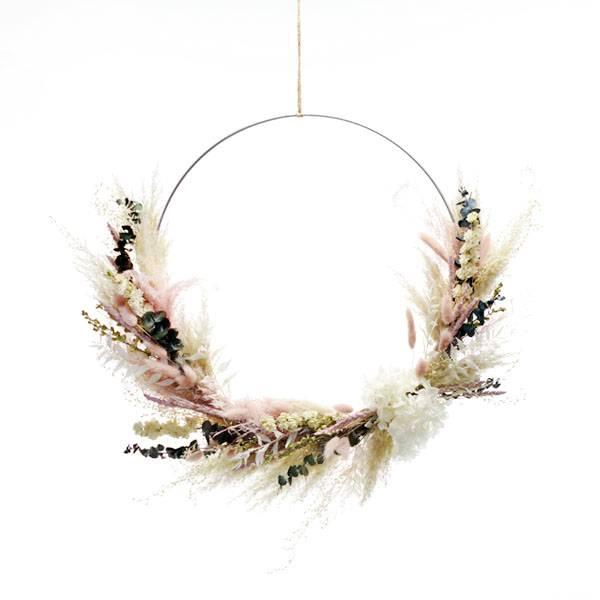 Trockenblumenkranz | Hoop | Sommertraum | weiss 40 cm | weiss-rosa-grün