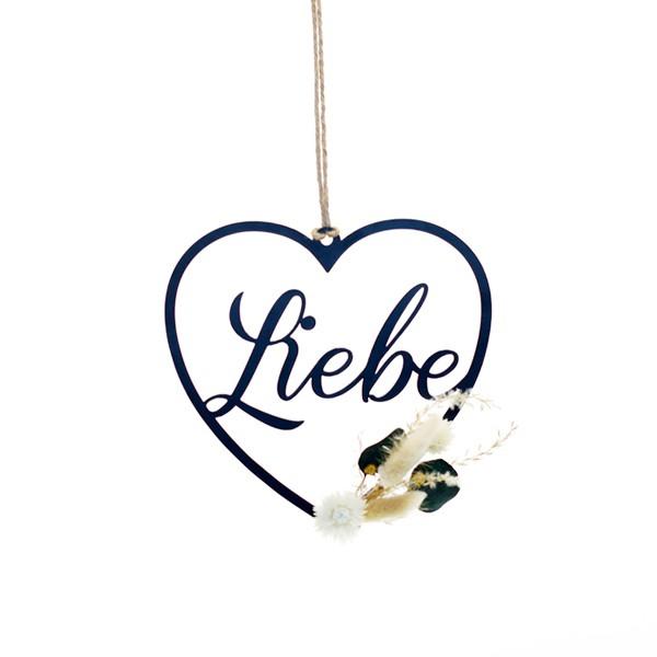Trockenblumen Herz Liebe | Natur Pur | Trockenblumen natur-grün-weiß