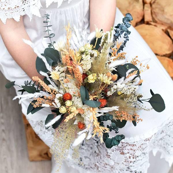 Trockenblumen Brautstrauß | Brautstrauss Trockenblumen | aprikot