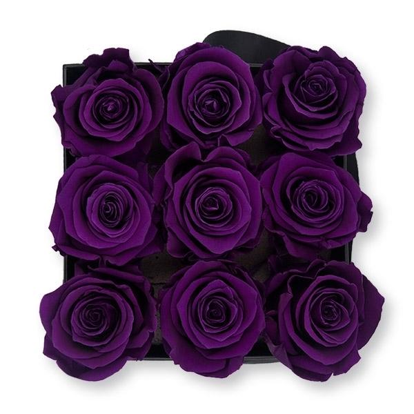 Rosenbox Infinity Rosen dunkel lila | Flowerbox eckig | M Modern black