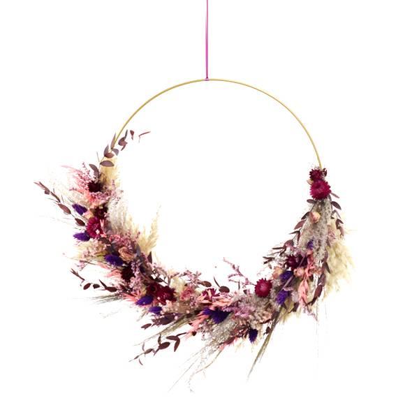 Trockenblumenkranz | Hoop | Beerenzauber | gold 40 cm | Trockenblumen pink-beere-gold | Pampasgras, Eukalyptus, Strohblume