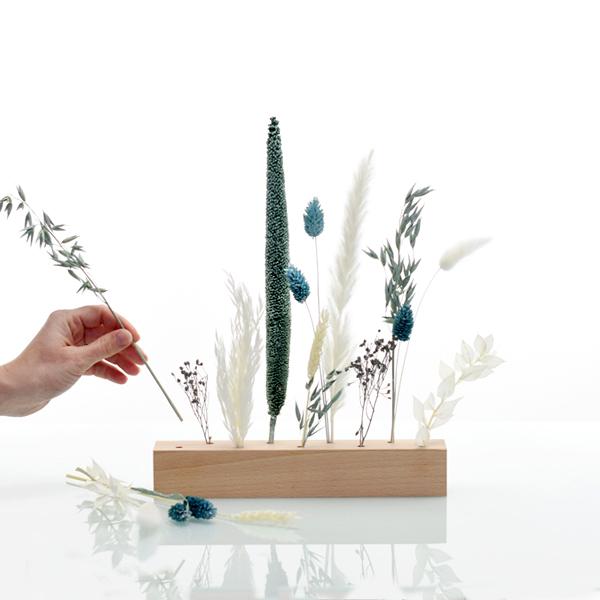 Trockenblumen | Blütenleiste | Eisprinzessin | weiss-eisblau-blau
