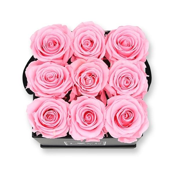 Rosenbox Infinity Rosen rosa | Flowerbox eckig | M Modern black