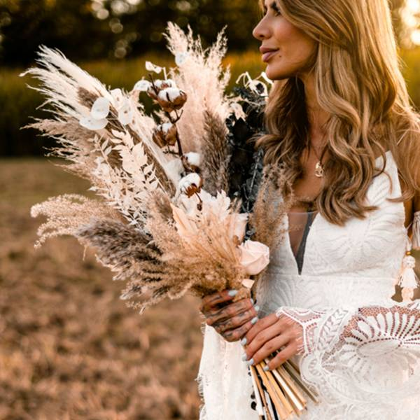 Trockenblumen Brautstrauß | Brautstrauss Trockenblumen | Pampas Rose