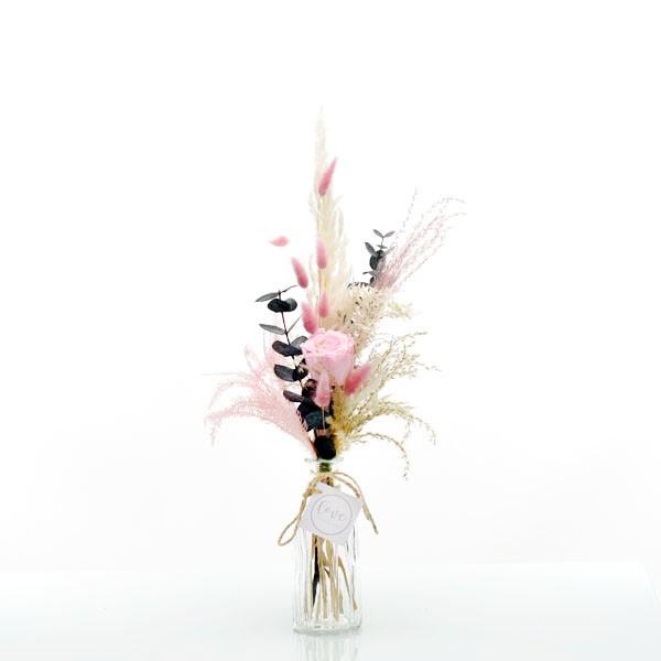 Trockenblumenstrauß Rosa Liebe mit Infinity Rose rosa   mit Flaschenvase