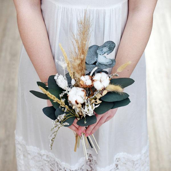 Trockenblumenstrauß Trauzeugin | Brautjungfern | Natur Pur | natur-grün