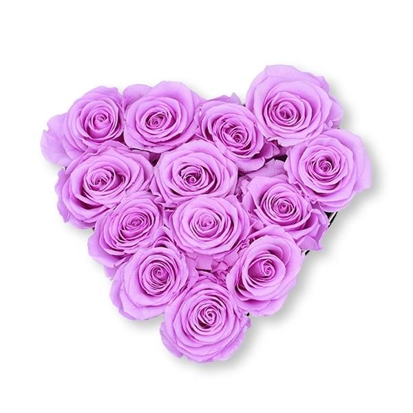 Rosenbox Herz Infinity Rosen flieder   Flowerbox Herzbox   M white
