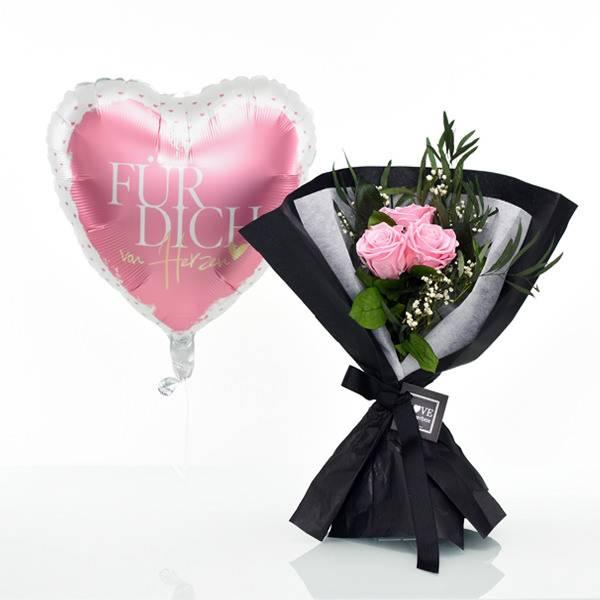 Flowerbox Set Langstiel Rosen Strauß 3 Stück | Rosen Bridal Pink | Heliumballon
