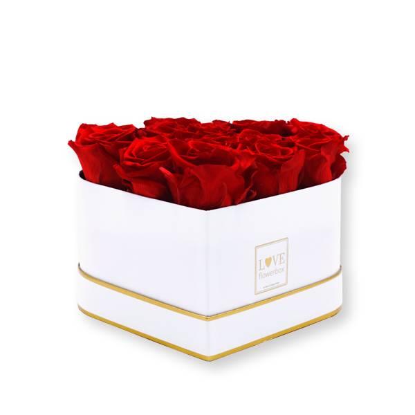 Rosenbox Herz Infinity Rosen rot | Flowerbox Herzbox | Medium white gold