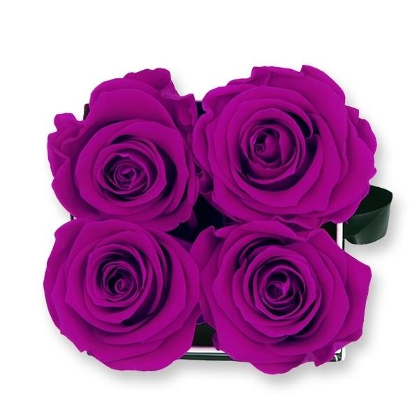 Rosenbox Infinity Rosen lila | Flowerbox eckig | S Modern white