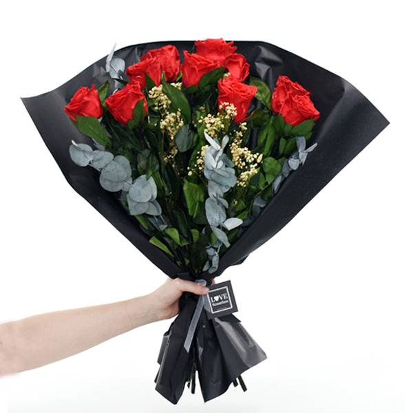 Rosenstrauß | Blumenstrauß mit 10 langstieligen Infinity Rosen + Schleierkraut + Eukalyptus | Rot