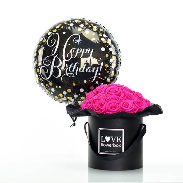 Flowerbox Set Bouquet | Large | Rosen Hot Pink | Heliumballon