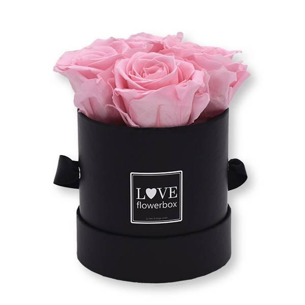 Flowerbox_rosenbox_blumenbox_rund_Small_schwarz_Infinity_Rosen_bridalpink_rosa_hellrosa.jpg