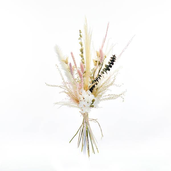 Trockenblumenstrauß Sommertraum M | weiss-rosa-grün | Trockenblumen Pampasgras, Eukalyptus