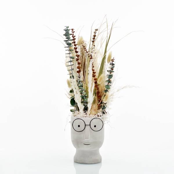 Trockenblumen Gesteck | Zement Topf Gesicht grau | Natur Schönheit | weiss-natur-grün | Eukalpytus, Pampasgras, Lagurus