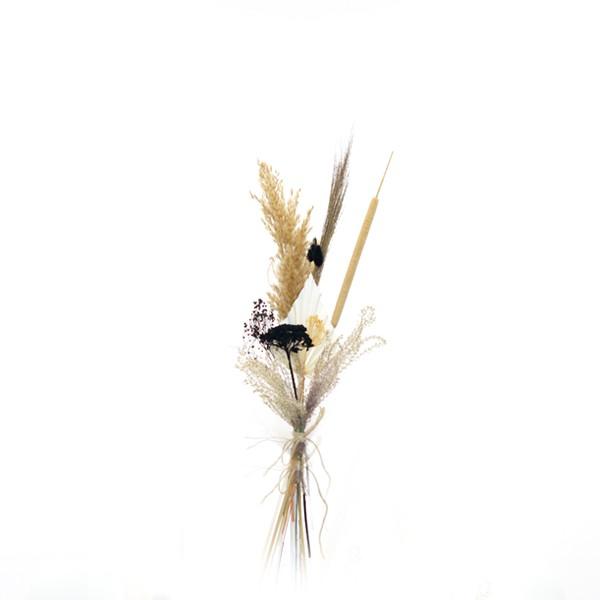 Trockenblumenstrauß Naturliebe S | Trockenblumen weiss-natur-schwarz-gold