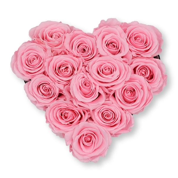 Rosenbox Herz Infinity Rosen rosa | Flowerbox Herzbox | M black