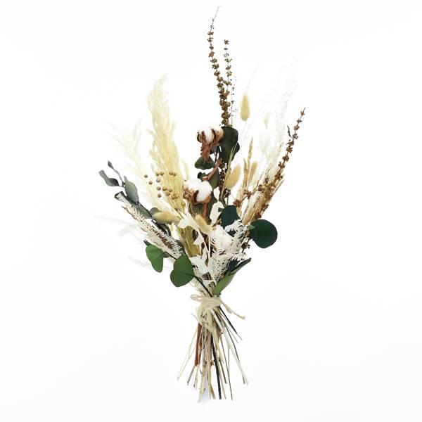 Trockenblumenstrauß Natur Pur M | Trockenblumen weiss-natur-grün-braun | Eukalyptus, Pampasgras, Baumwolle