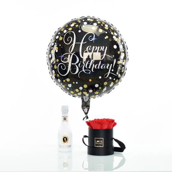 Set_Flowerbox_Small_schwarz_gold_vibrant_red_rot_Luftballon_happybirthday_Sekt_klein.jpg