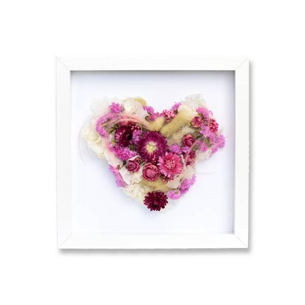 Trockenblumen Bilderrahmen Herz | Zarte Liebe | weiss-rosa-pink | Lagurus, getrocknete Rosen, Strohblumen, Statice, Hortensie