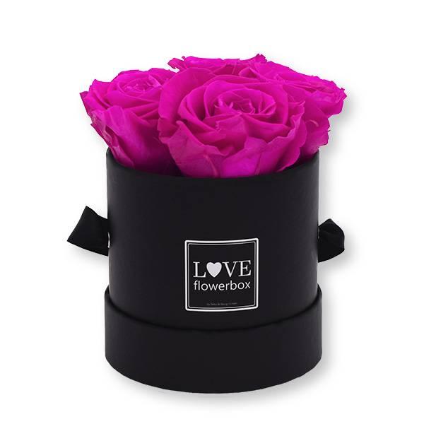 Flowerbox_rosenbox_blumenbox_rund_Small_schwarz_Infinity_Rosen_hotpink_pink.jpg