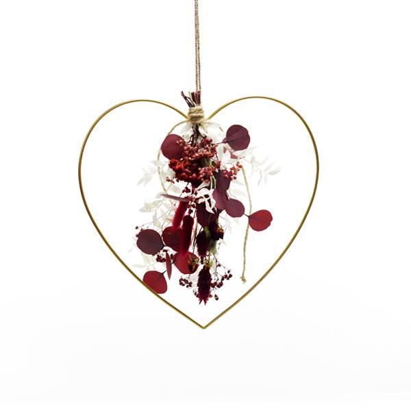 Herz mit Trockenblumenstrauß Burgunderliebe | gold 30 cm | Trockenblumen weiss-rot-bordeaux
