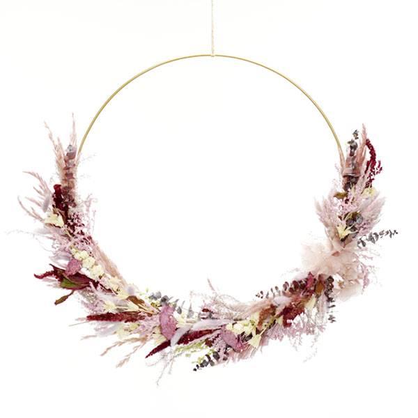 Trockenblumenkranz | Hoop | Naturschönheit | gold 50 cm | Trockenblumen weiss-rosa--flieder beere | Eukalyptus