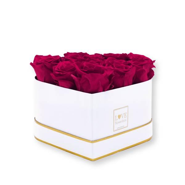 Rosenbox Herz Infinity Rosen himbeere | Flowerbox Herzbox | M white gold