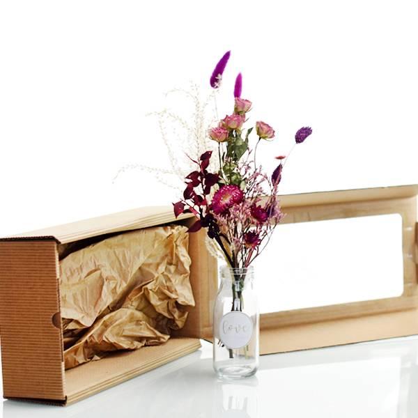 Geschenkeset mit Trockenblumenstrauß Beerenzauber |  Trockenblumen rosa-pink-beere | Pampas, Strohblume, Lagurus