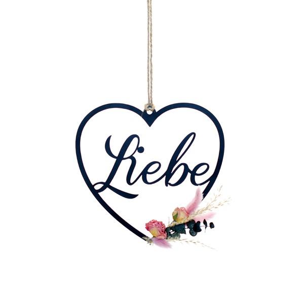Trockenblumen Herz Liebe | Traumfarben | schwarz 18 cm | Trockenblumen rosa-weiß-grün