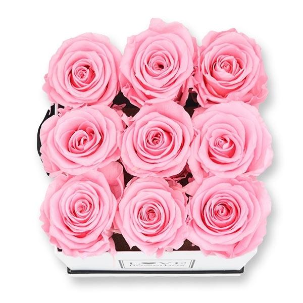 Rosenbox Infinity Rosen rosa | Flowerbox eckig | M Modern white