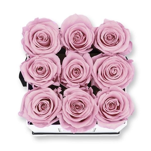 Rosenbox Infinity Rosen altrosa | Flowerbox eckig | M Modern black