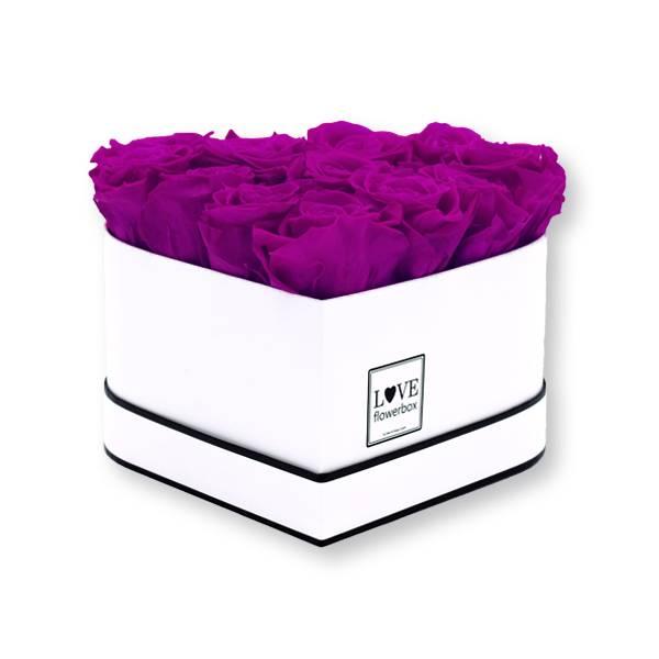 Flowerbox Herz | Medium | Rosen Purpur (Lila)