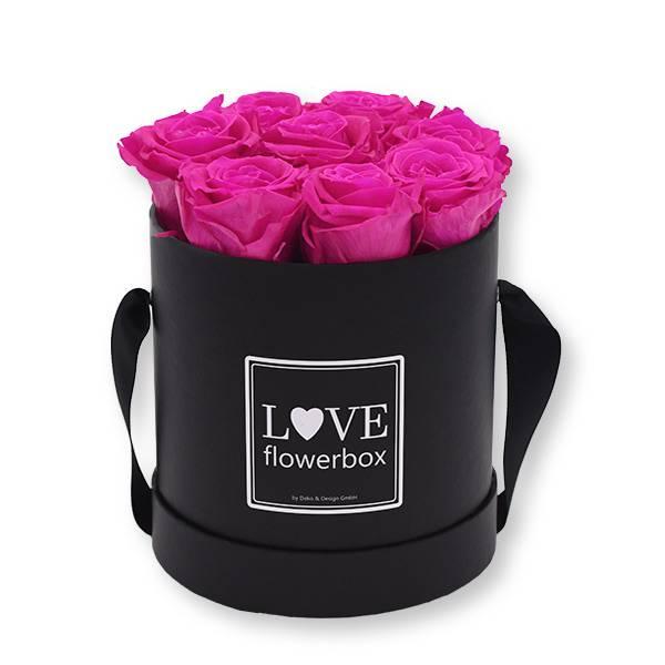 Flowerbox_rosenbox_blumenbox_rund_Medium_schwarz_Infinity_Rosen_hotpink_pink.jpg
