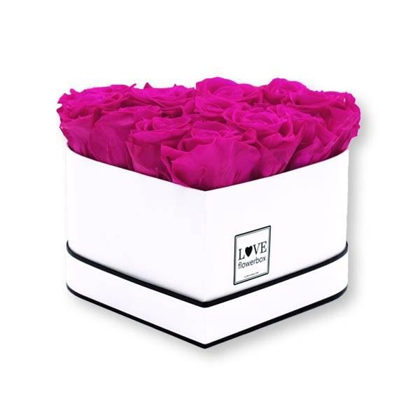 Flowerbox Herz   Medium   Rosen Hot Pink (Pink)