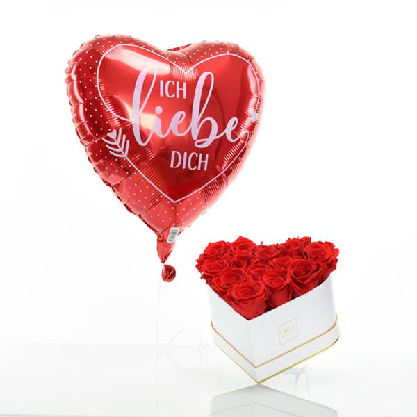 Flowerbox Set Herz | Medium | Rosen Vibrant Red | Heliumballon