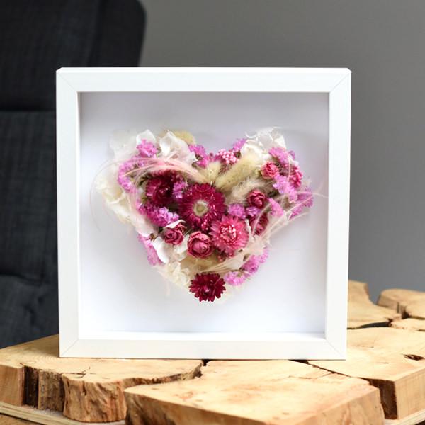 Trockenblumen Bilderrahmen Herz | Zarte Liebe | weiss-rosa-pink
