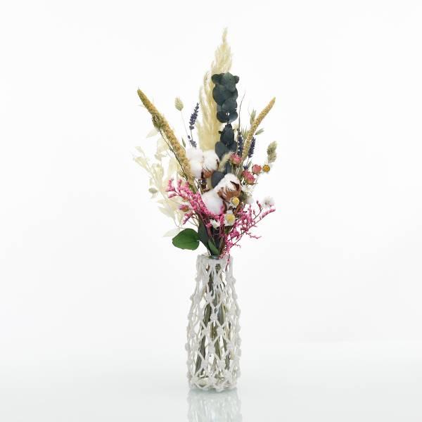 Trockenblumenstrauß Tausendschön M mit Vase Makramee M | natur-bunt