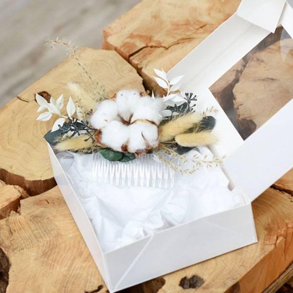 Trockenblumen Haarkamm Braut   Hochzeit   Trauzeugin   Natur Pur   natur-grün   Eukalyptus, Baumwolle, Ruskus, Lagurus
