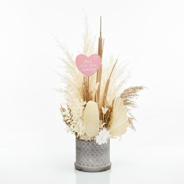 Trockenblumen Gesteck | Zement Topf grau | Boho Liebe L | weiss-natur-braun Muttertag