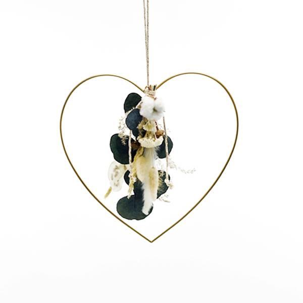 Herz mit Trockenblumenstrauß Natur Pur | gold 30 cm | Trockenblumen weiss-natur-grün-braun