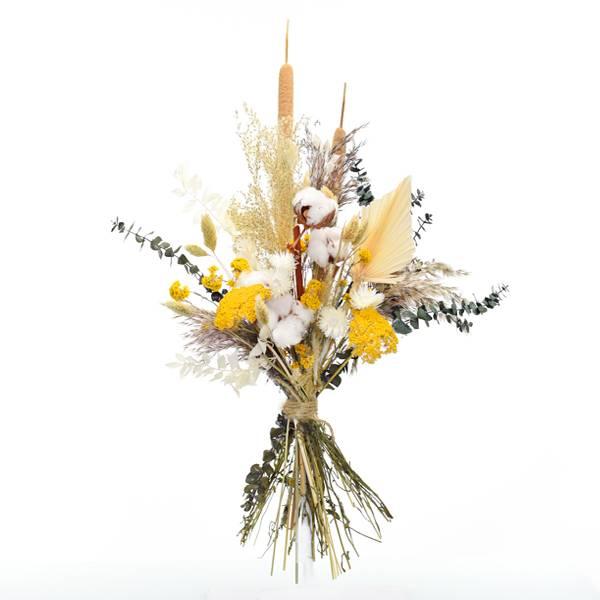 Trockenblumenstrauß Morgentau L | Trockenblumen weiss-natur-grün-gelb-braun | Pampasgras, Eukalyptus, Baumwolle