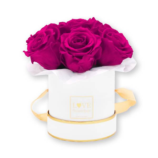 Flowerbox Bouquet gold | Small | Rosen Hot Pink (Pink)