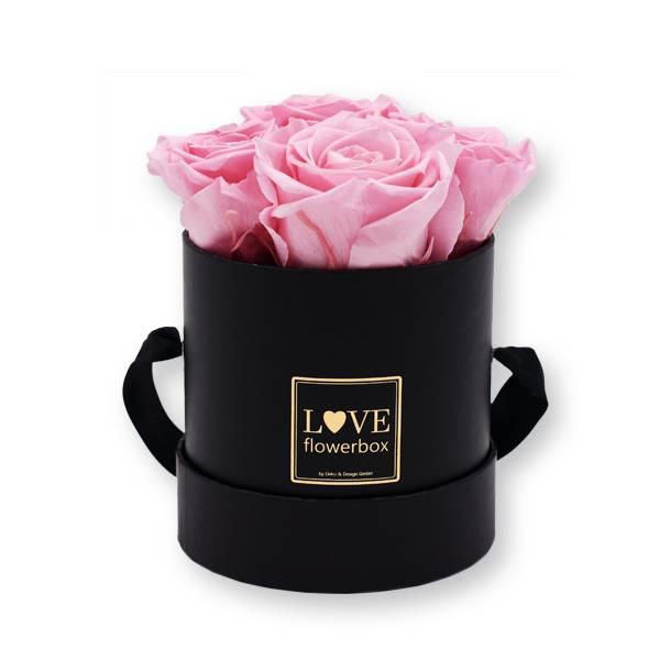 Flowerbox_rosenbox_blumenbox_rund_Small_schwarz_gold_Infinity_Rosen_bridalpink_rosa_hellrosa.jpg