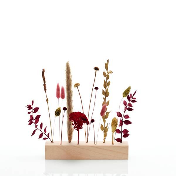 Trockenblumen | Blütenleiste | Burgunder Liebe | weiss-natur-bordeaux