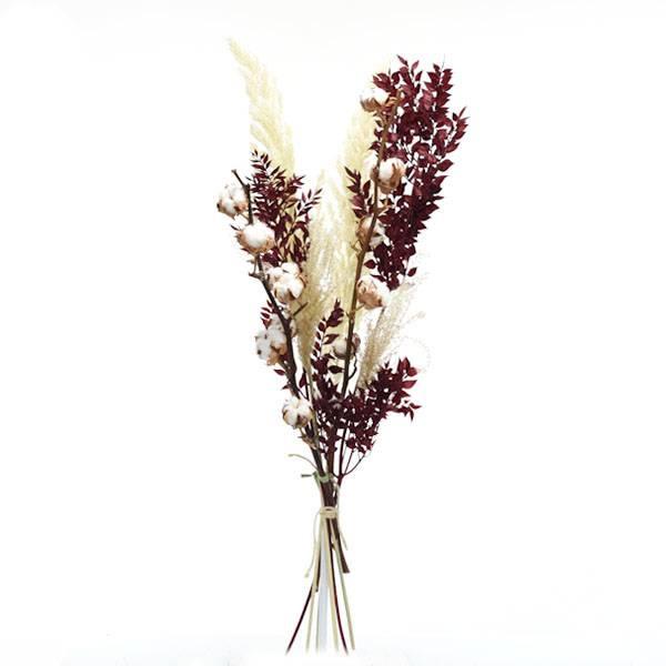 Trockenblumenstrauß Mix | Set Ruskusliebe | weiss-rot-bordeaux | Pampasgras, Ruskus, Baumwolle