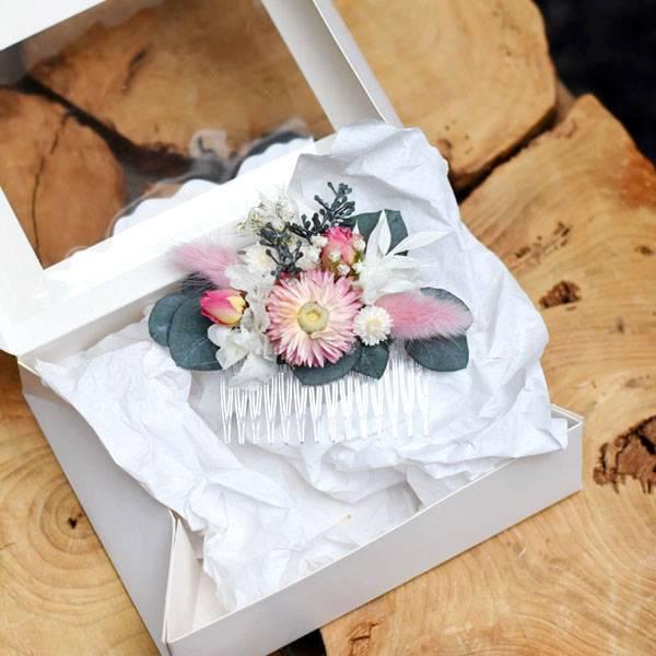 Trockenblumen Haarkamm Braut | Trauzeugin | Hochzieit | Zarte Liebe | weiss-rosa-pink-grün | Eukalyptus, Lagurus, Strohblume, Schleierkraut, Ruskus,