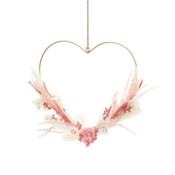 Herz Rosa Versuchung | gold 30 cm | Trockenblumen rosa-weiß-creme-rose