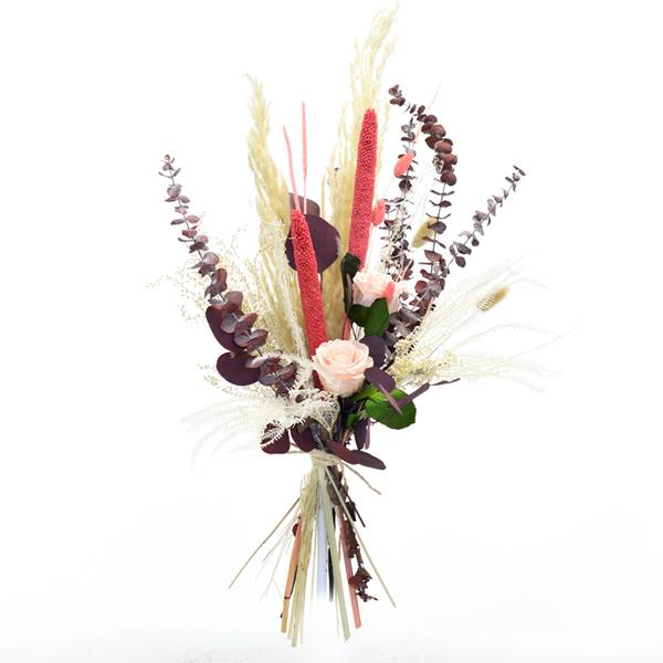 Trockenblumenstrauß Rosenglück L | Eukalyptus, Infinity Rosen, Pampas | Trockenblumen natur-rosa-koralle-rot-bordeaux-beere