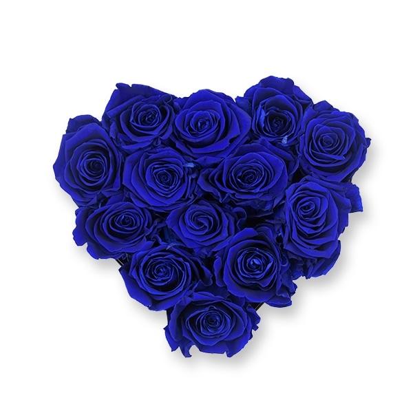 Rosenbox Herz Infinity Rosen dunkel blau | Flowerbox Herzbox | M black